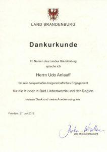 Urkunde Ehrenamtler 2016