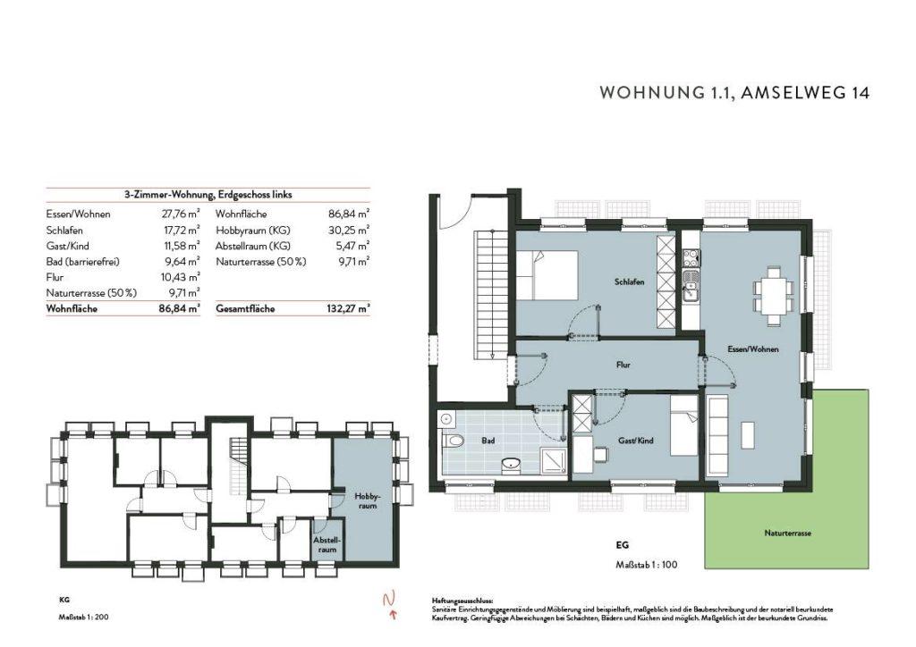 Grundriss Wohnung 1.1 Nr 14