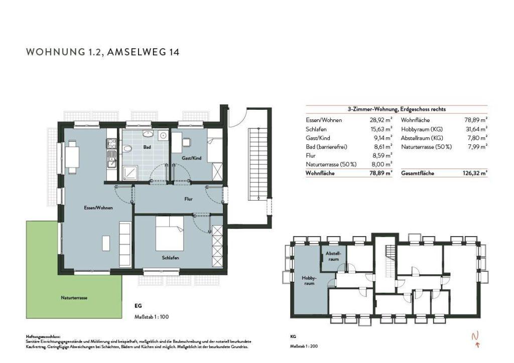 Grundriss Wohnung 1.2 Nr 14