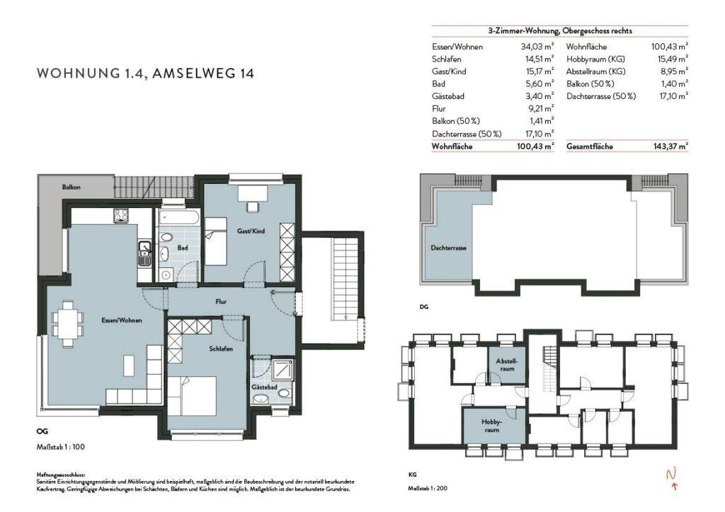 Grundriss Wohnung 1.4 Nr 14